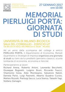 Giornata di studi in memoria di Pierluigi Porta, Università Bicocca, 27 gennaio 2017